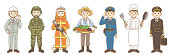 Illustration of workers, soldiers, firefighters, farmers, police officers, cooks, pilots