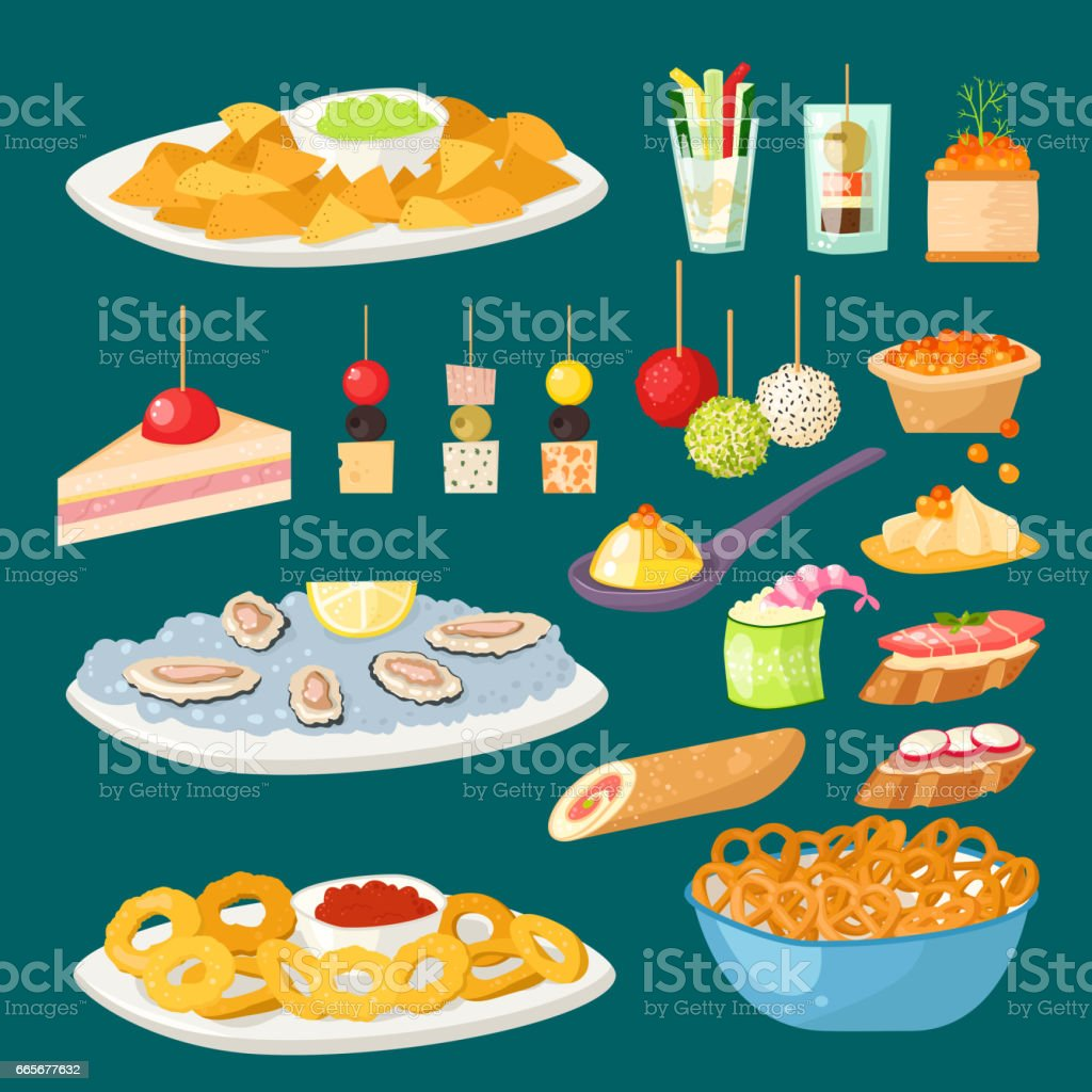 Various meat canape snacks appetizer fish and cheese banquet snacks on platter vector illustration vector art illustration