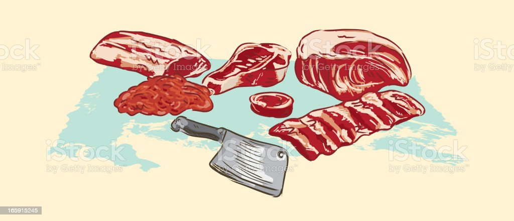 Various meat cuts of raw beef and clever vector art illustration