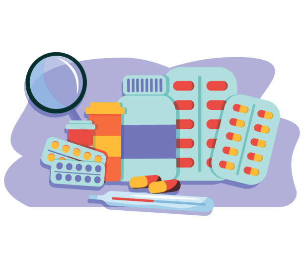Various meds. Pills, capsules blisters, glass bottles with liquid medicine and plastic tubes with caps. Drug medication and supplements collection. Realistic flat style vector object illustration. Vector illustration Various meds. Pills, capsules blisters, glass bottles with liquid medicine and plastic tubes with caps. Drug medication and supplements collection. Realistic flat style vector object illustration. Vector illustration prescription meds stock illustrations