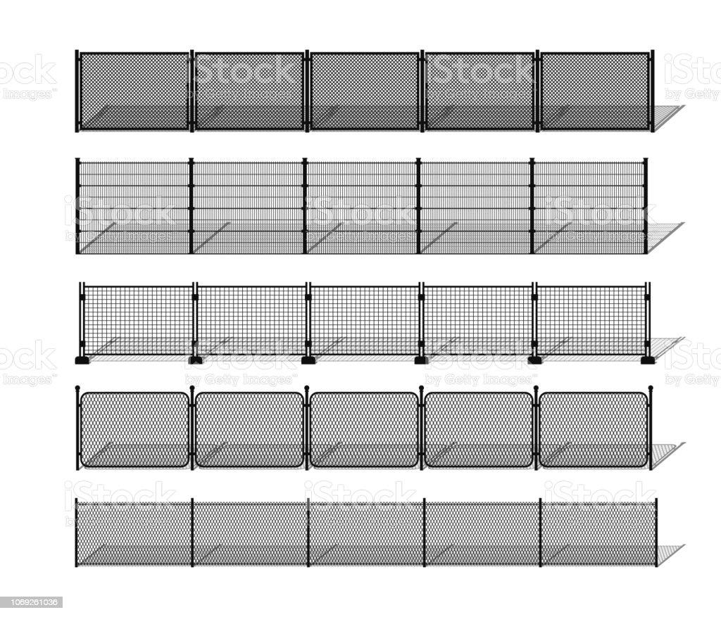 Varias siluetas de valla de alambre y acoplamiento de cadena con las sombras del metal - ilustración de arte vectorial