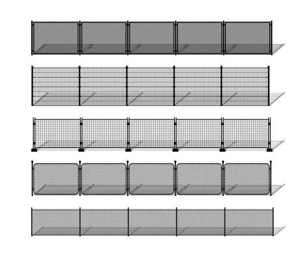 stockillustraties, clipart, cartoons en iconen met diverse metalen draad en keten-link fence silhouetten met schaduwen - fence