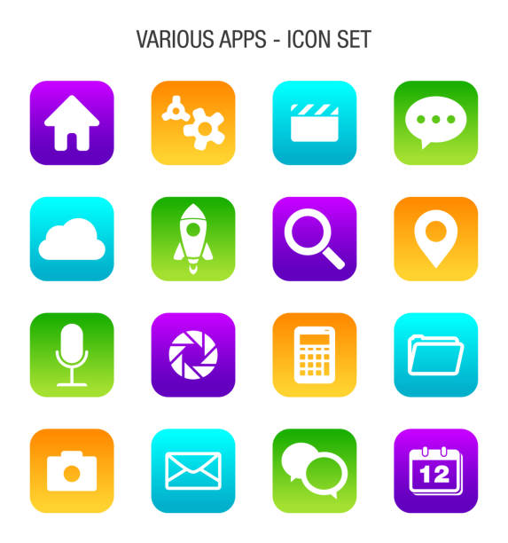 çeşitli mobil apps icon set - app stock illustrations