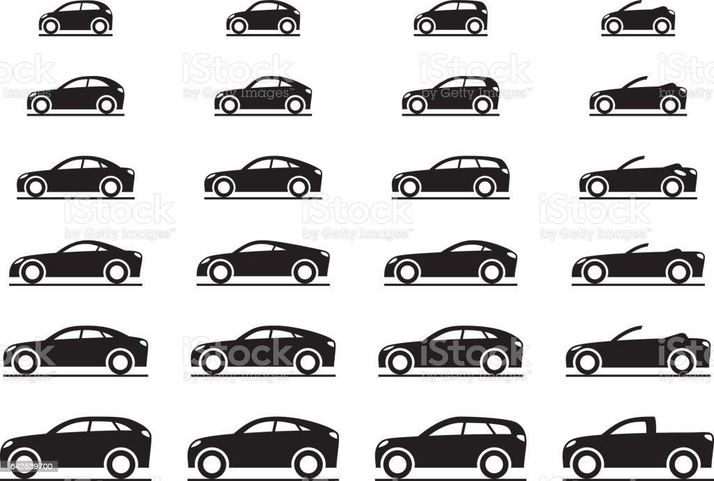 Various modern cars vector art illustration