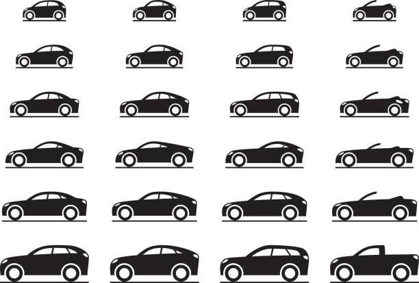 verschiedene moderne autos - cabrio stock-grafiken, -clipart, -cartoons und -symbole