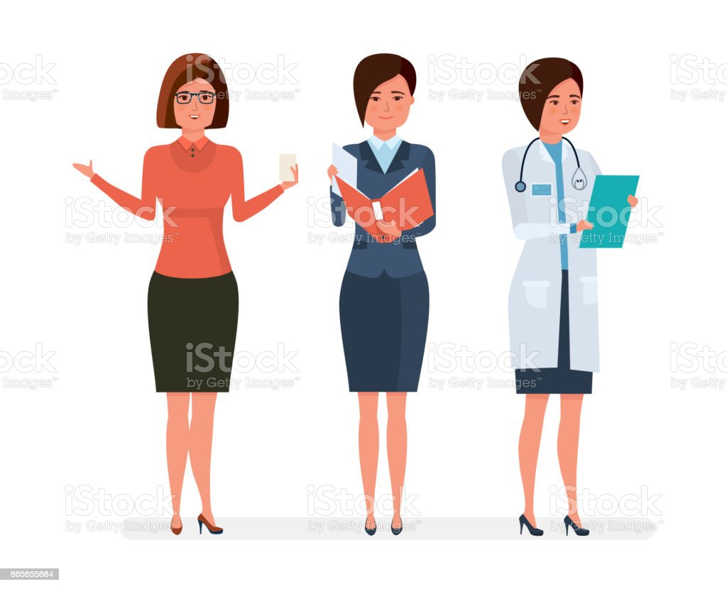 Professions diverses des femmes modernes. Enseignante, femme d'affaires, médecin de l'hôpital - Illustration vectorielle