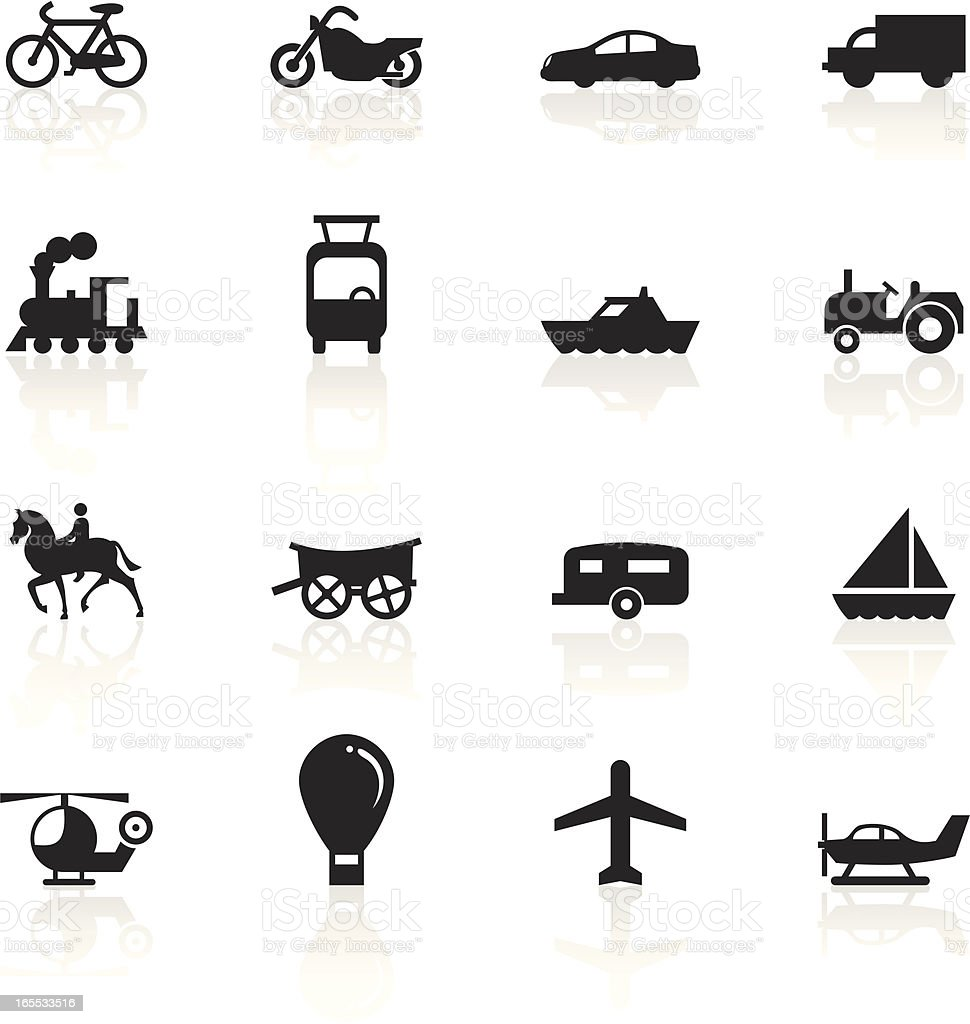 Various modes of transportation with black symbols royalty-free various modes of transportation with black symbols stock vector art & more images of airplane