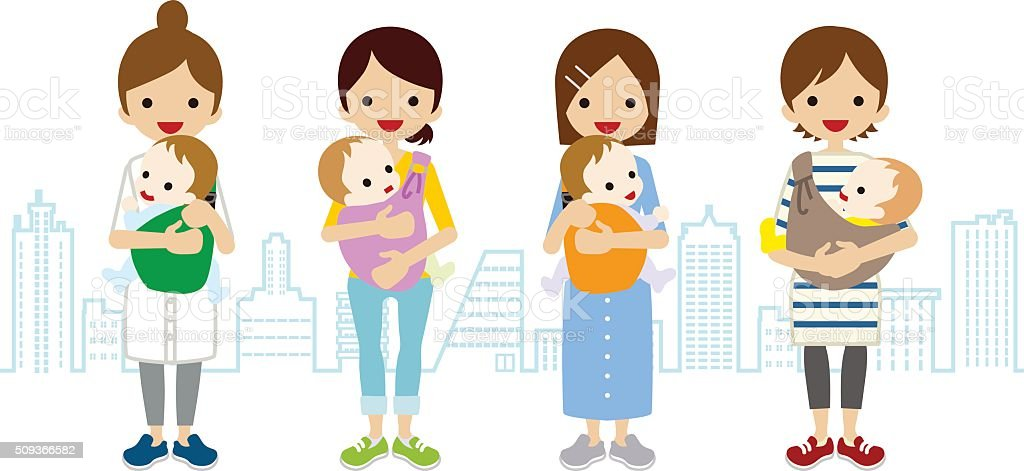 Various Mom and Baby- Townscape Background vector art illustration