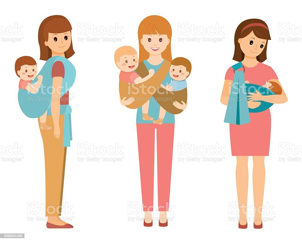 Various Mom and Baby vector art illustration