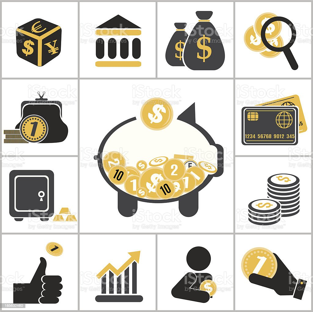 Various money icons in black and yellow isolated on white royalty-free various money icons in black and yellow isolated on white stock vector art & more images of adult