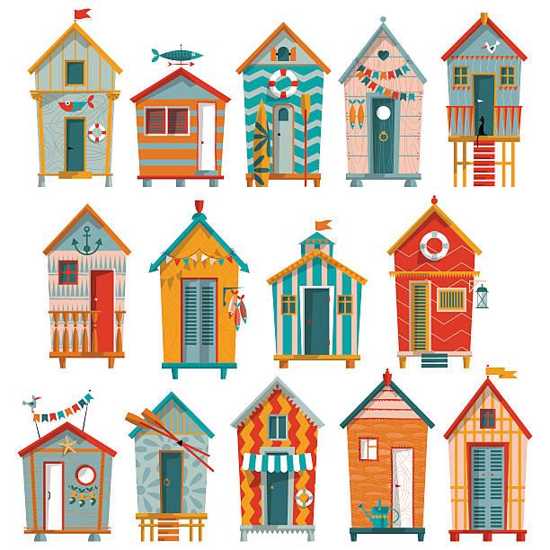 Various Multi Colored Beach Huts Vector Art Illustration