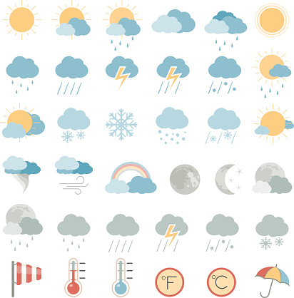 Various multicolored weather icons