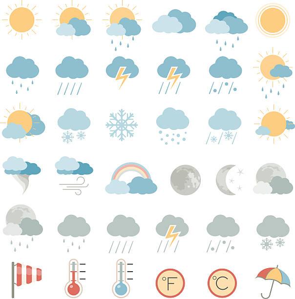 평편 아이콘-기상으로 - 날씨 stock illustrations