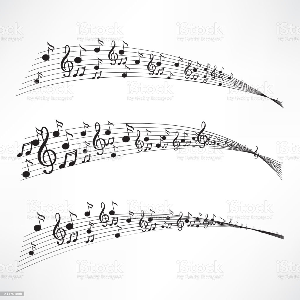 Various music notes on stave vector art illustration