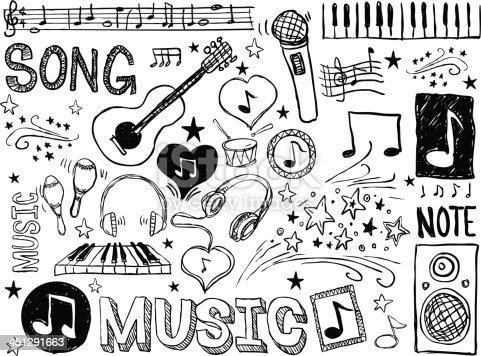 Various musical elements in black and white