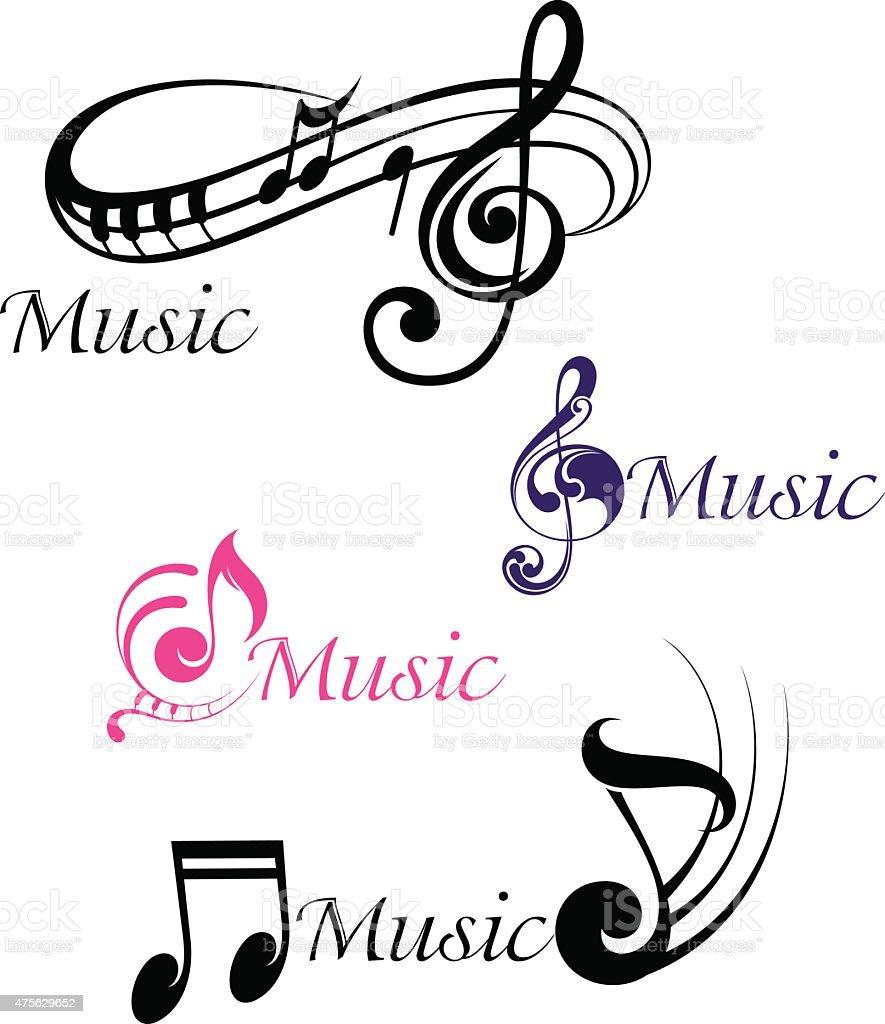 Various musical notes vector art illustration