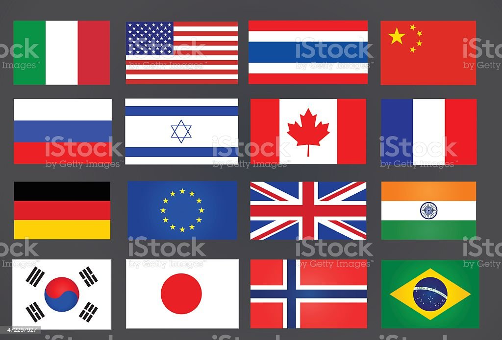 various national flags royalty-free stock vector art
