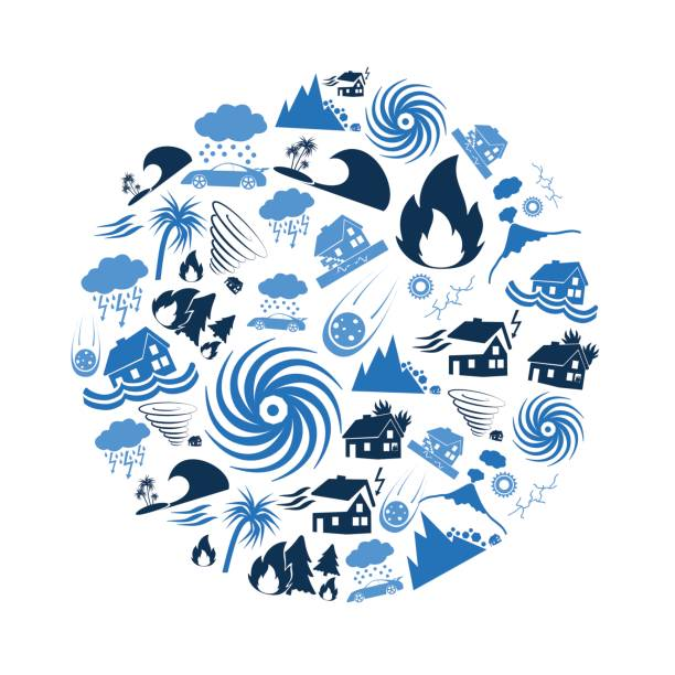 various natural disasters problems in the world blue icons in circle eps10 vector art illustration