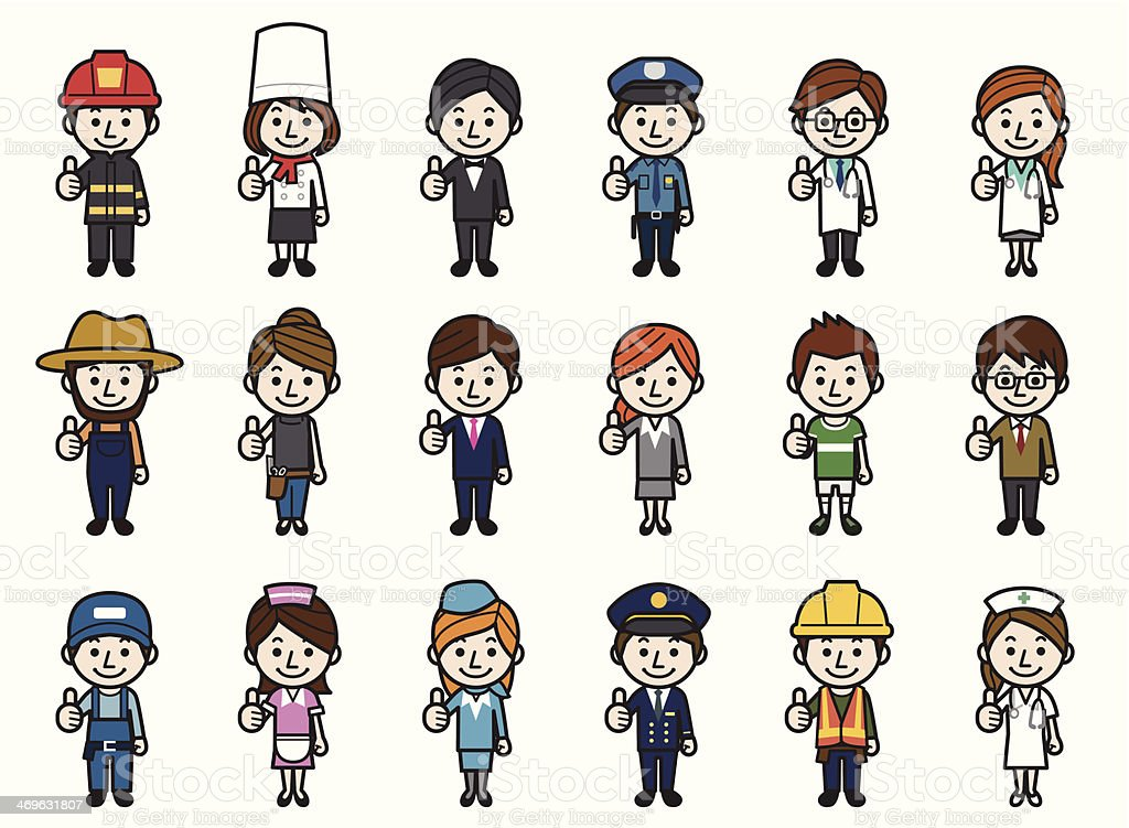 Various occupations showing thumbs up royalty-free stock vector art