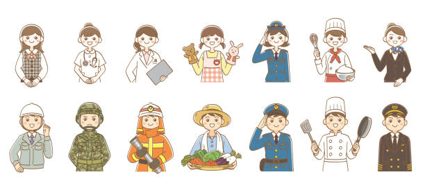 Various occupations Men and women various occupation illustrations Workers, soldiers, firefighters, farmers, police officers, cooks, pilots, reception employees, nurses, doctors, flight attendants trooper stock illustrations