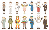 Men and women various occupation illustrations Workers, soldiers, firefighters, farmers, police officers, cooks, pilots, reception employees, nurses, doctors, flight attendants