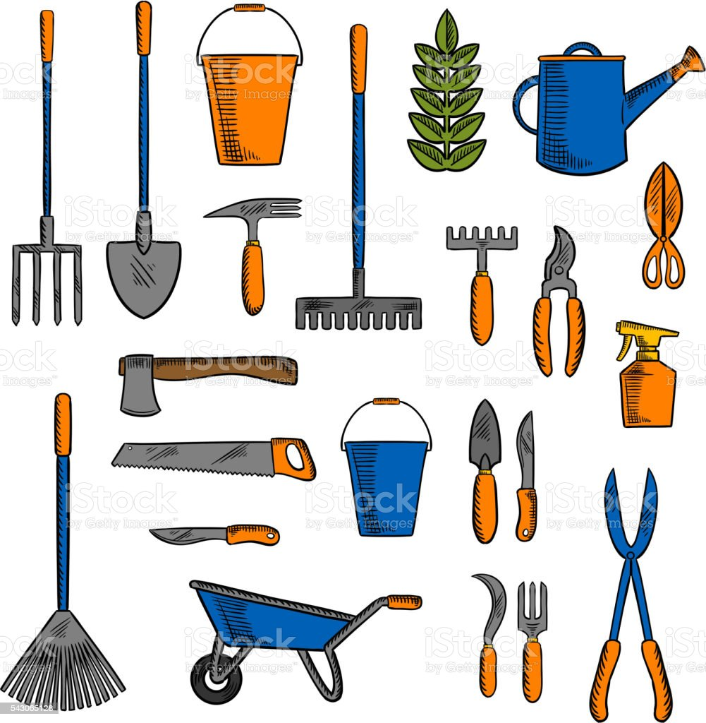 Diferentes herramientas y equipos de jardiner a s mbolos for Gardening tools list and their uses