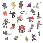 Various of graphic cartoon, set, print, t shirt