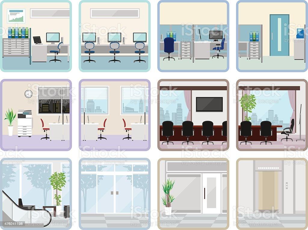 Various office vector art illustration