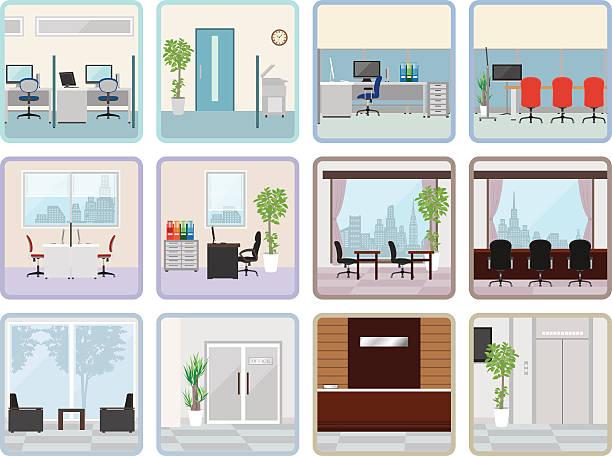 verschiedenen office - rezeptionseingang stock-grafiken, -clipart, -cartoons und -symbole
