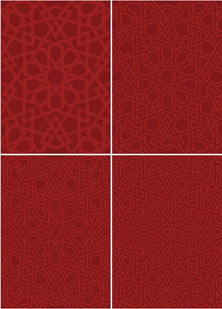 various ornate islamic patterns in red - 伊斯蘭教 幅插畫檔、美工圖案、卡通及圖標