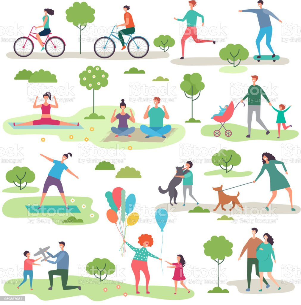 Various outdoor activities in the urban park. Group of walking peoples royalty-free various outdoor activities in the urban park group of walking peoples stock illustration - download image now