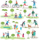 Various outdoor activities in the urban park. Group of walking peoples