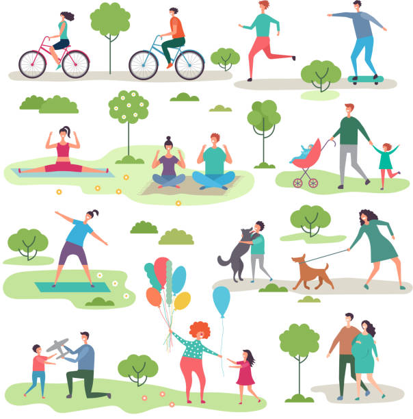Various outdoor activities in the urban park. Group of walking peoples Various outdoor activities in the urban park. Group of walking peoples. Illustration of recreation jogging with dog, exercise fitness outdoor community backgrounds stock illustrations