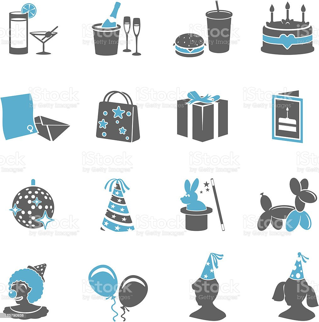 Various party icons in gray and light blue vector art illustration