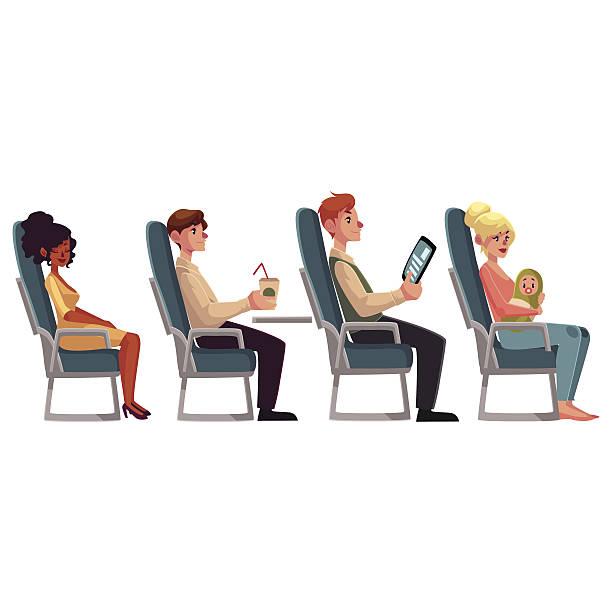 various passengers, man and women in airplane seats - fahrzeugsitz stock-grafiken, -clipart, -cartoons und -symbole