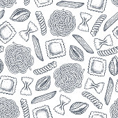 istock Various pasta seamless pattern. Engraved style illustration. Different kind of classic pasta. Vector illustration 1212119292