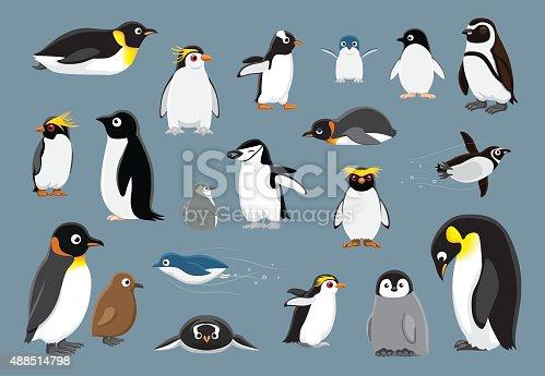 istock Various Penguins Cartoon Vector Illustration 488514798