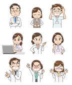 Various people engaged in medical care. Doctors, nurses, etc.