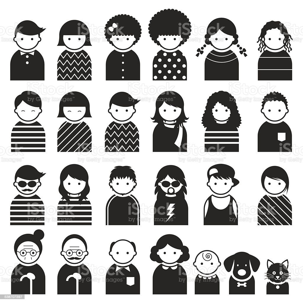 Various people symbol icons family set stock vector art more boys child daughter family father biocorpaavc