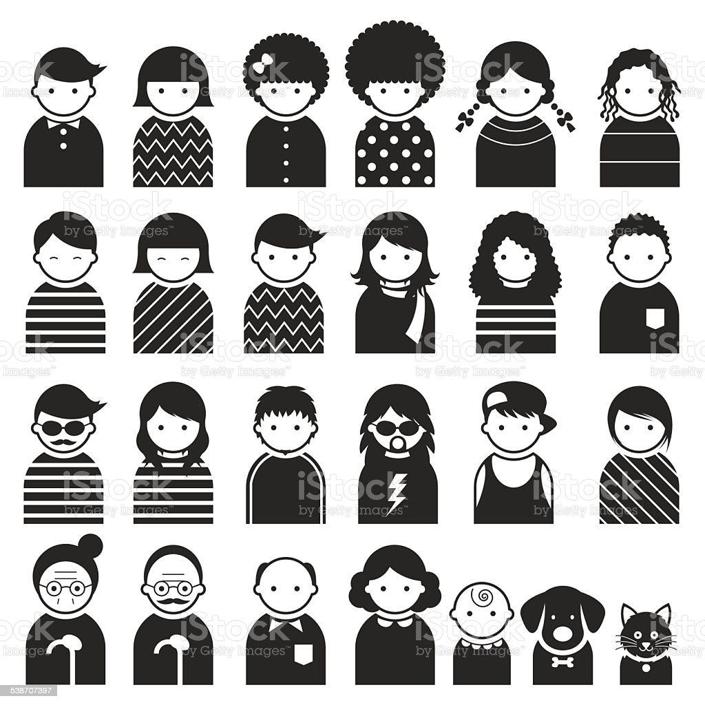 Plusieurs personnes symbole icônes famille ensemble - Illustration vectorielle