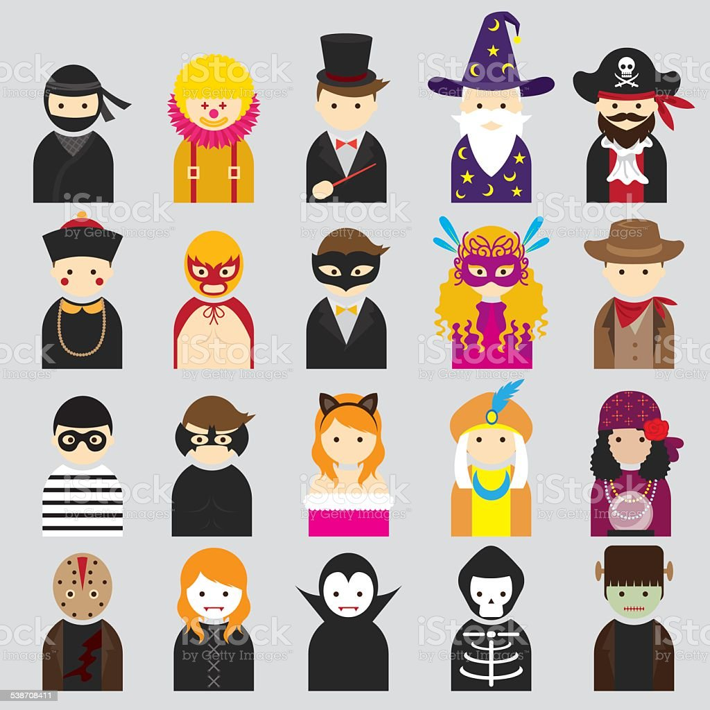 Various People Symbol Icons Fancy Mask Set vector art illustration
