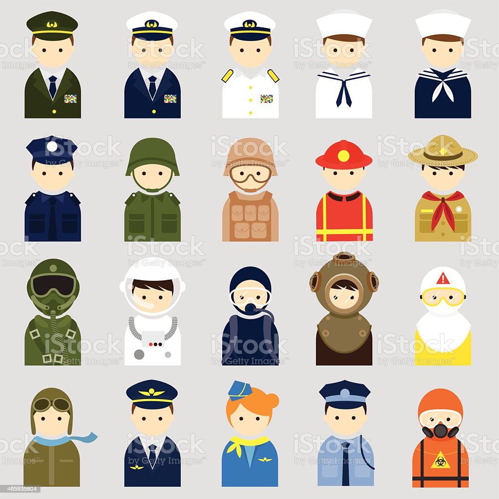 Various People Symbol Icons Officer and Uniform Set vector art illustration