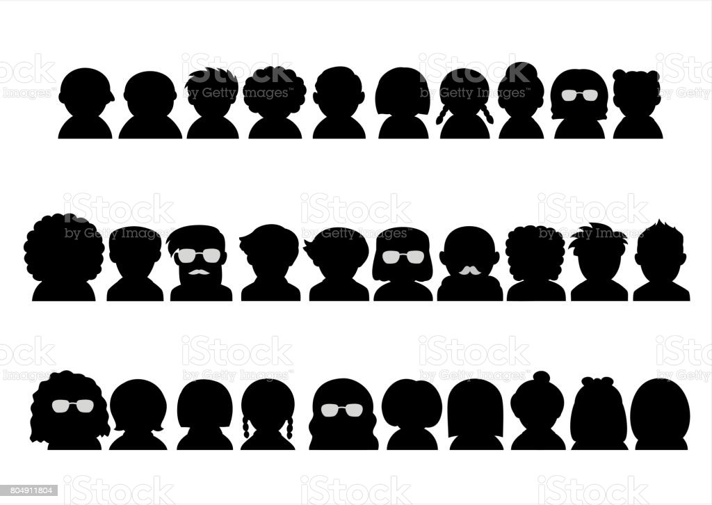 various people upper body silhouette icon set vector art illustration