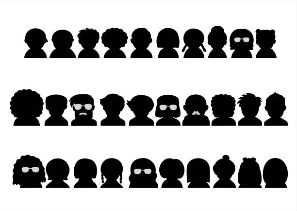 ilustrações de stock, clip art, desenhos animados e ícones de various people upper body silhouette icon set - da cintura para cima
