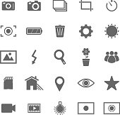 Various photography icons set against a white background