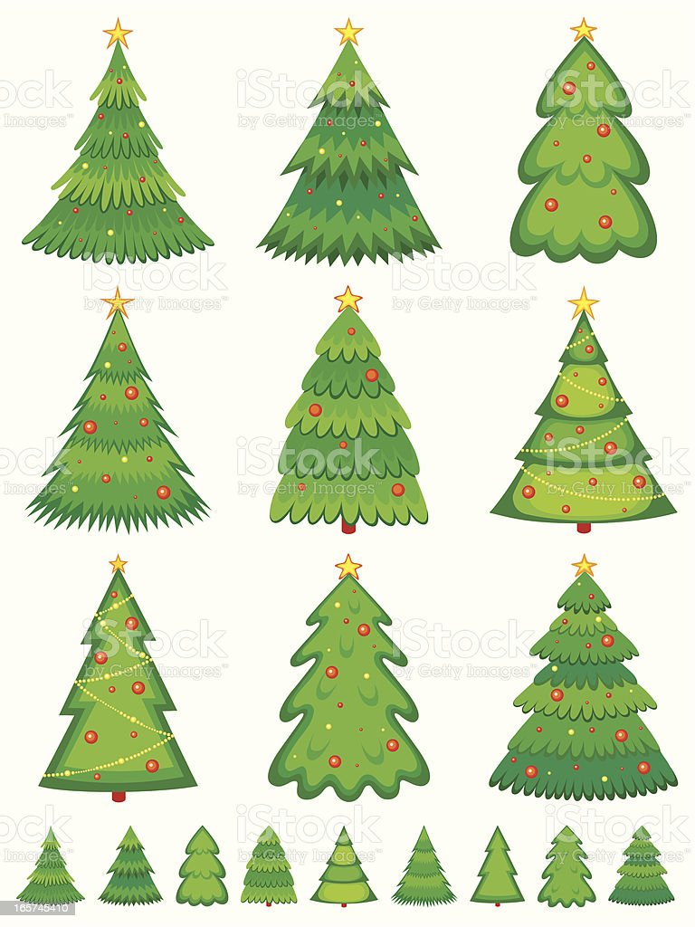 Various picture of Christmas tree with decoration royalty-free stock vector art