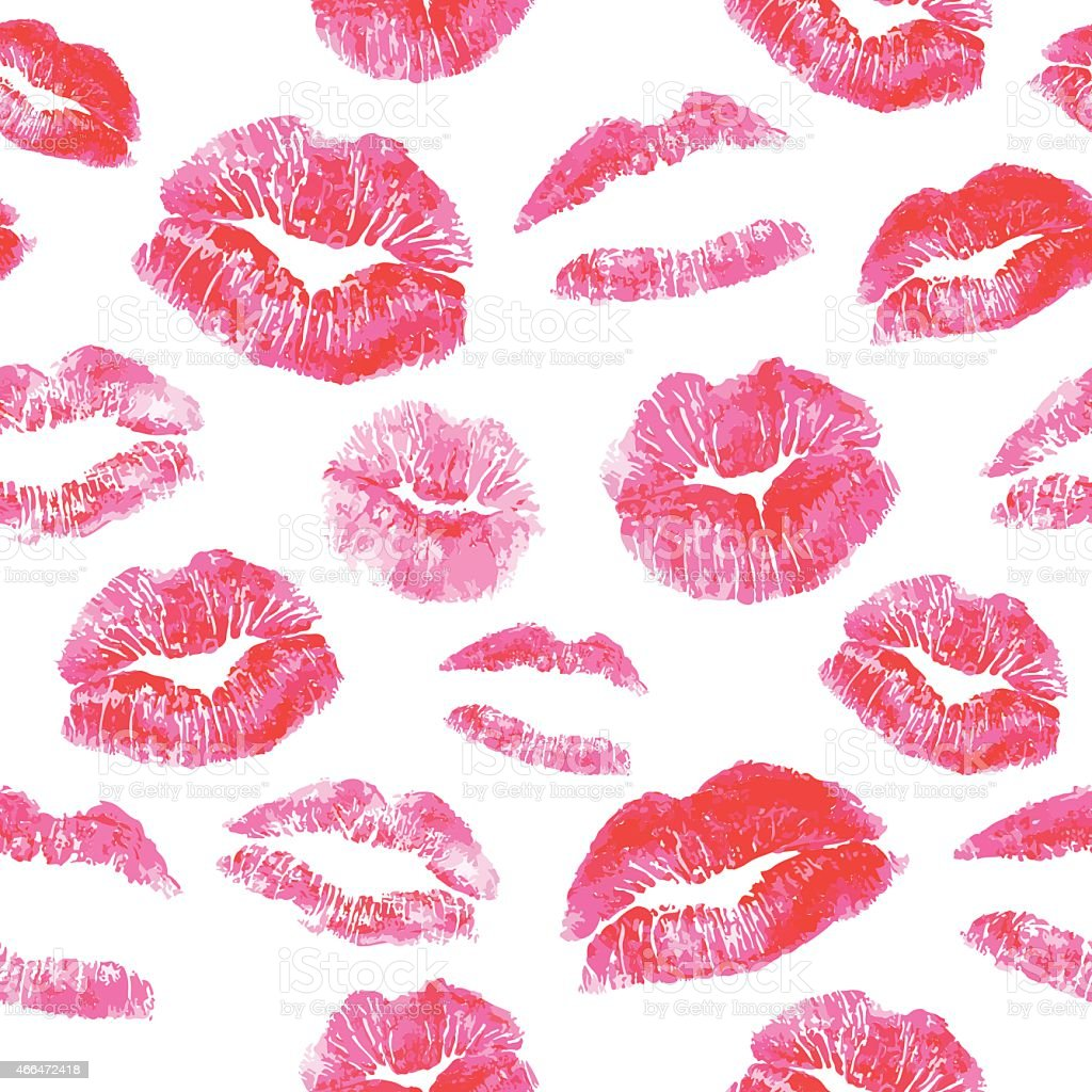 Various pink and red lip shapes on a white background vector art illustration