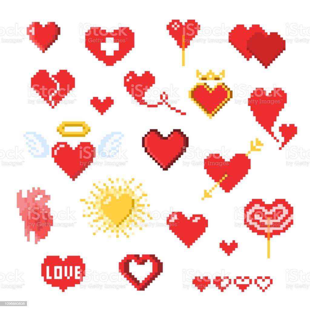 Differentes Icones De Coeur De Pixel Isoles Sur Blanc Vecteurs Libres De Droits Et Plus D Images Vectorielles De Affectueux Istock