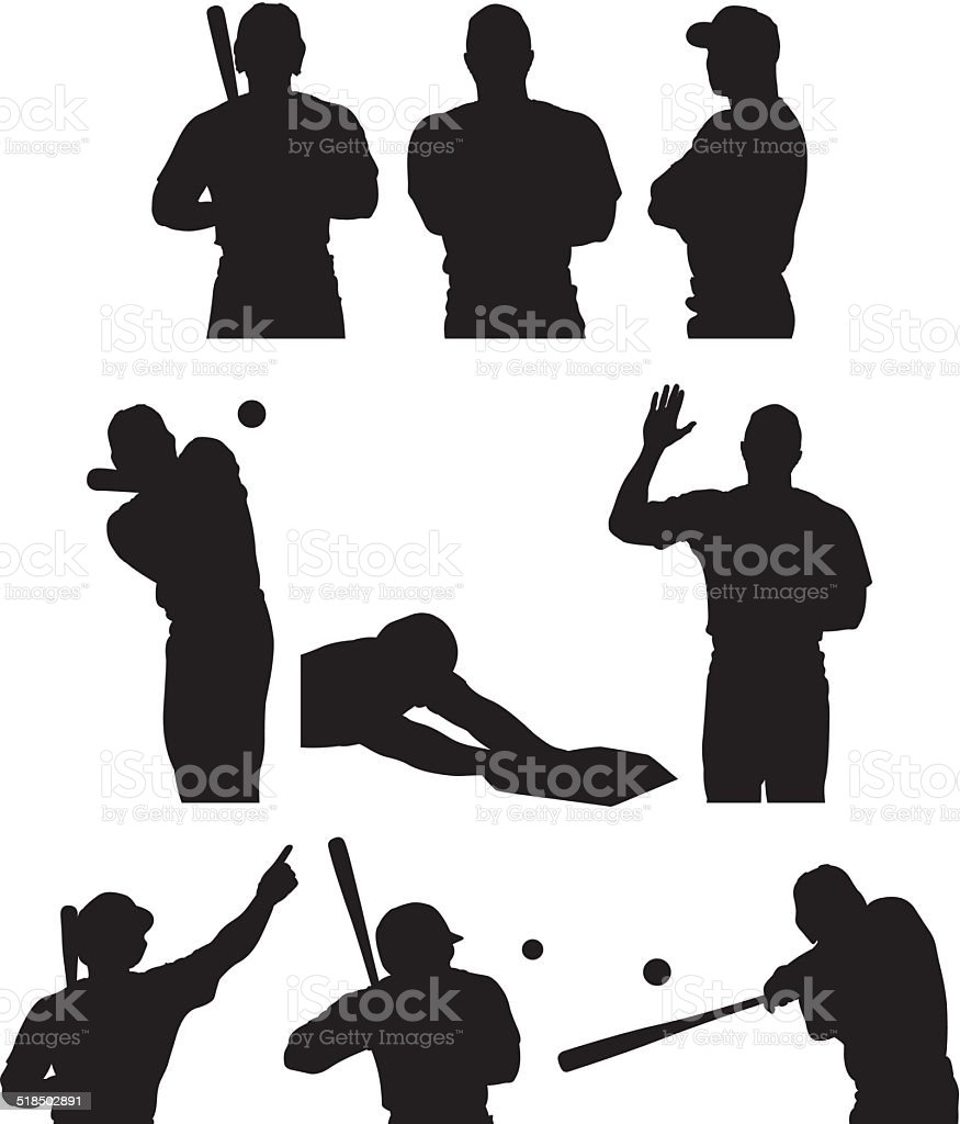Various poses of baseball player vector art illustration