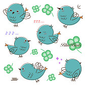Various poses of birds